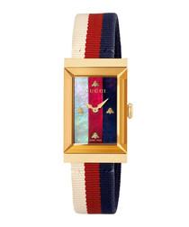Multi-colour & gold-tone square watch