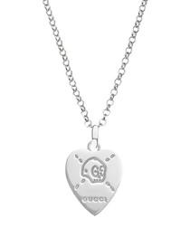 Sterling silver heart skull necklace