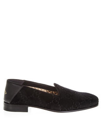 Men's black velvet leather loafers