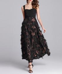 Black sleeveless heart sheer dress