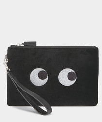 Glitter Eyes black velvet clutch