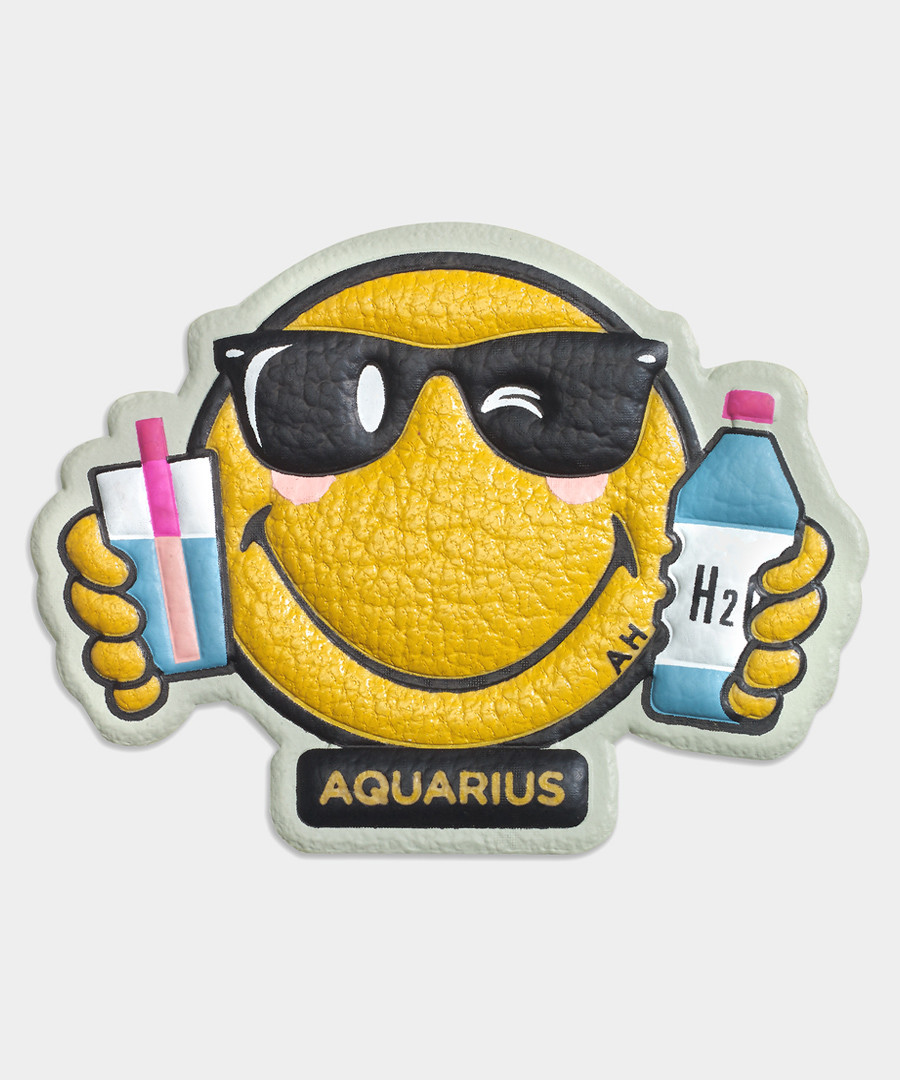 Aquarius Wink mustard leather sticker Sale - anya hindmarch