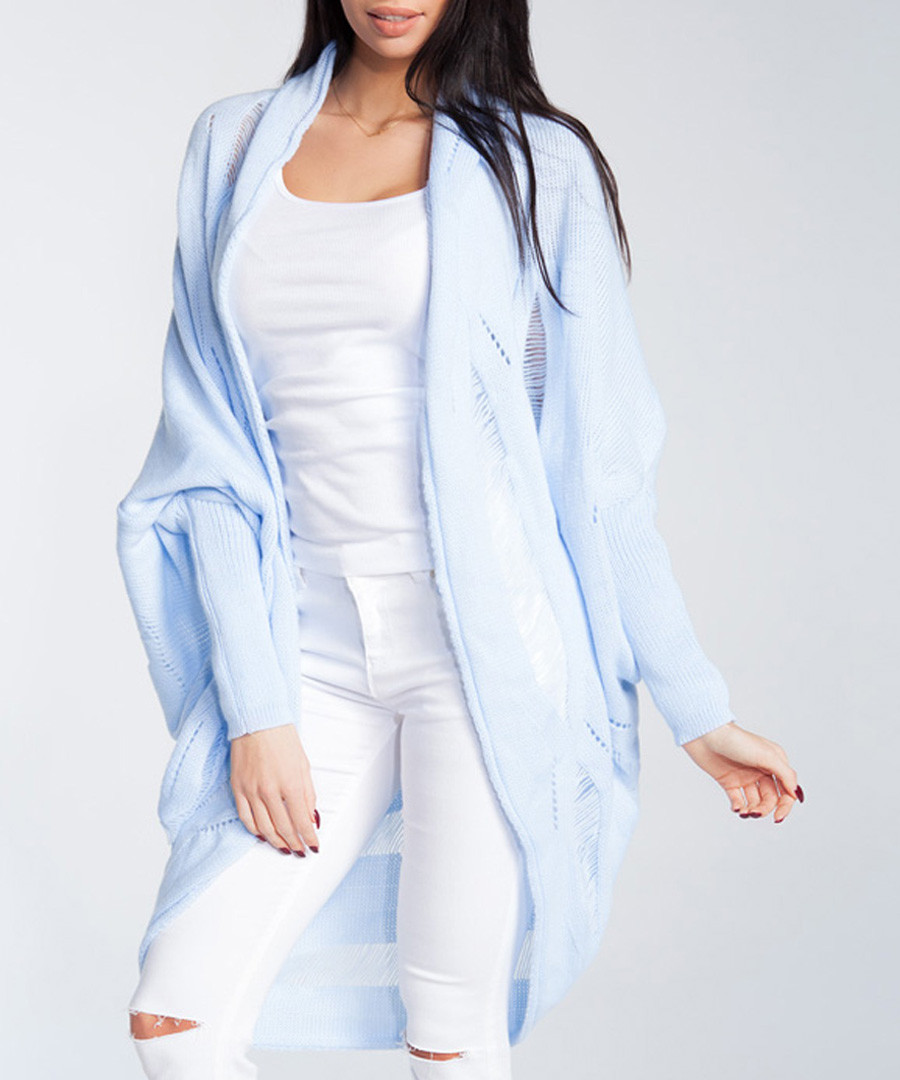 Powder blue wool blend drape cardigan Sale - fobya