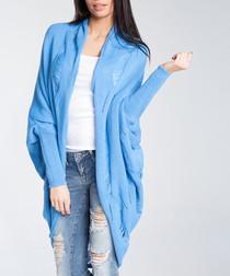 Lazur wool blend drape cardigan