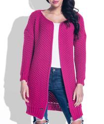 Amaranth wool blend knit cardigan