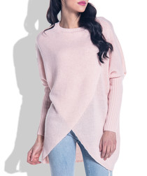 Powder pink wool blend wrap jumper