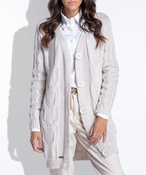 Beige knee length button cardigan