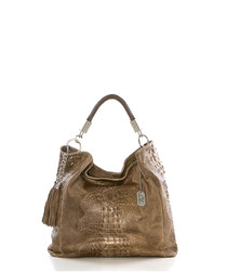 Allessandra taupe leather slouch bag