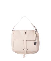 Viola beige leather shopper bag