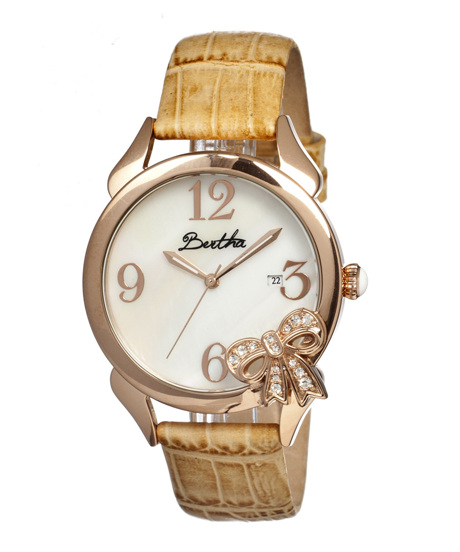 Cream leather & rose gold-tone bow watch Sale - bertha