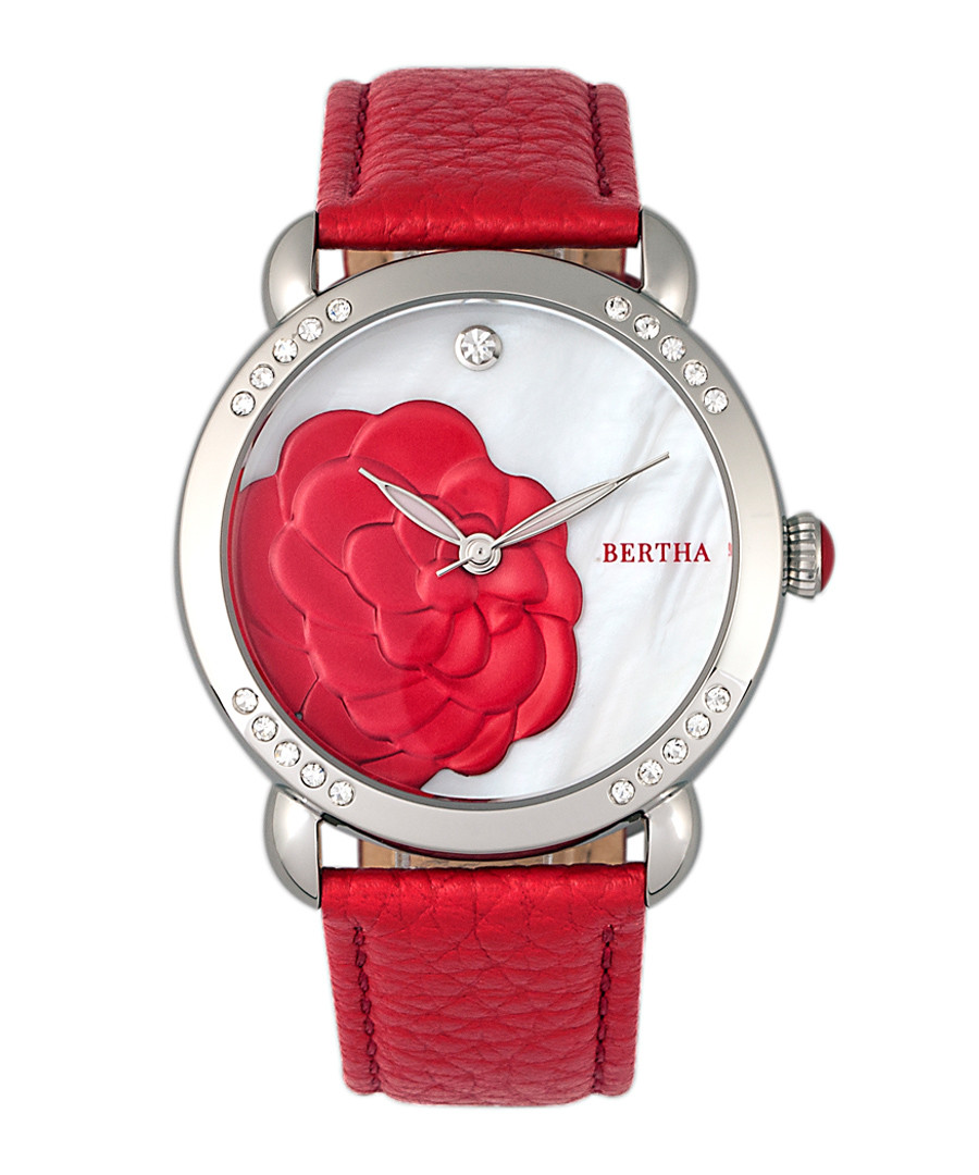 Daphne silver-tone & red leather watch Sale - bertha
