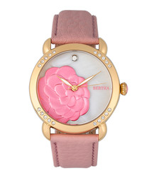 Daphne gold-tone & pink leather watch