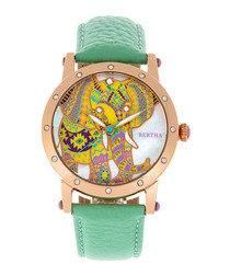 Betsy green leather elephant watch