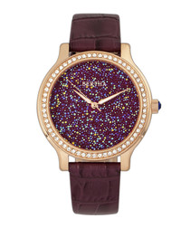 Cora plum leather glitter face watch