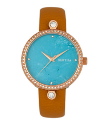 Frances rose gold-tone leather watch
