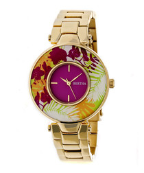 Elizabeth gold-tone floral watch