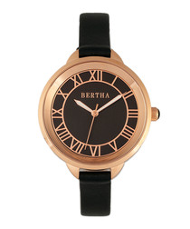 Madison rose gold-tone leather watch