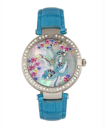 Mia silver-tone & blue leather watch