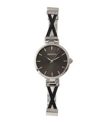 Amanda silver-tone & charcoal watch
