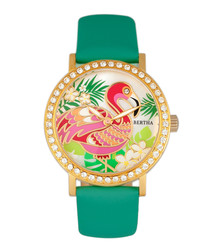 Luna turquoise leather flamingo watch