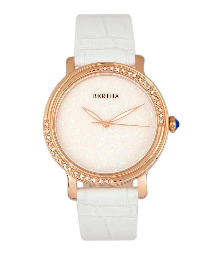 Courtney steel & white leather watch Sale - bertha