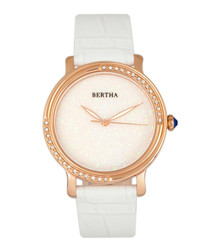 Courtney steel & white leather watch