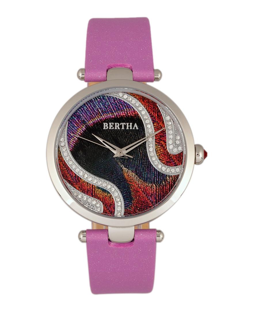 Trisha silver-tone & lilac leather watch Sale - bertha