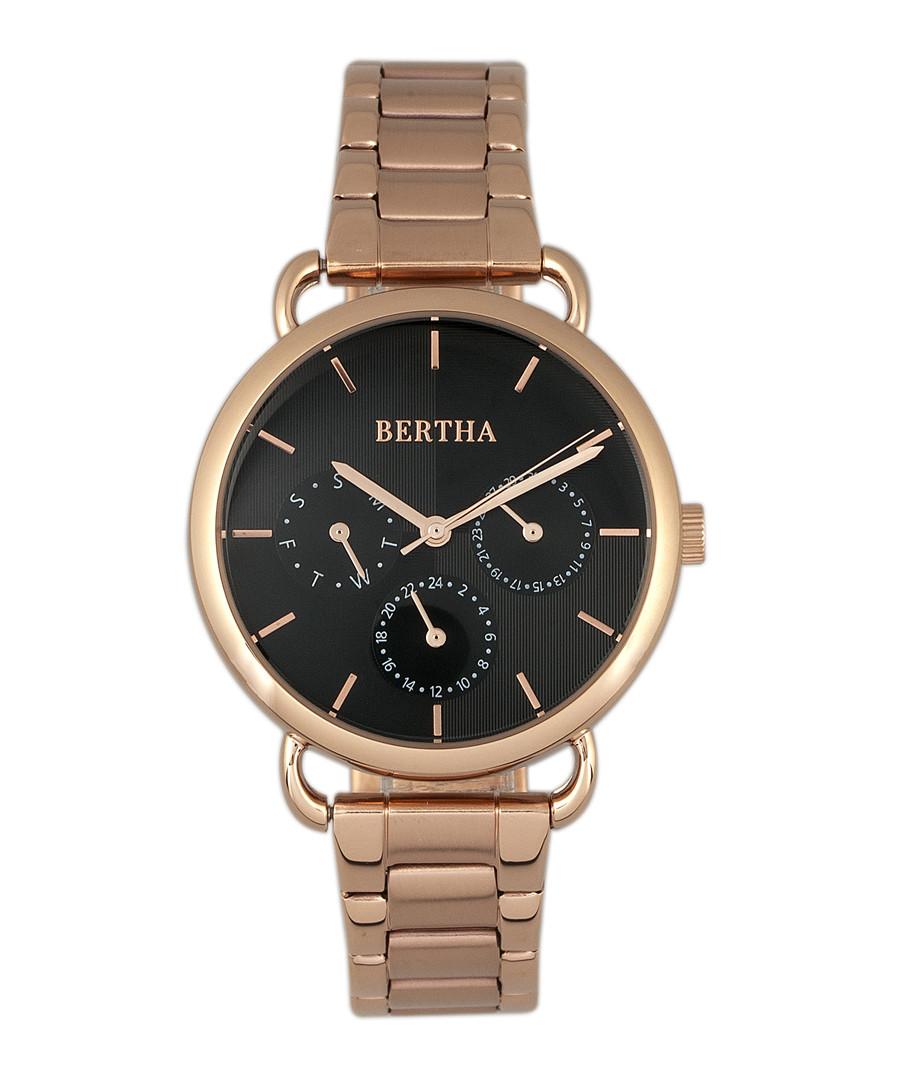 Gwen rose gold-tone steel & black watch Sale - bertha