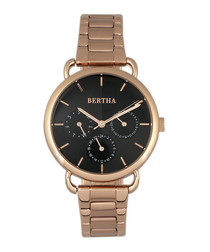 Gwen rose gold-tone steel & black watch