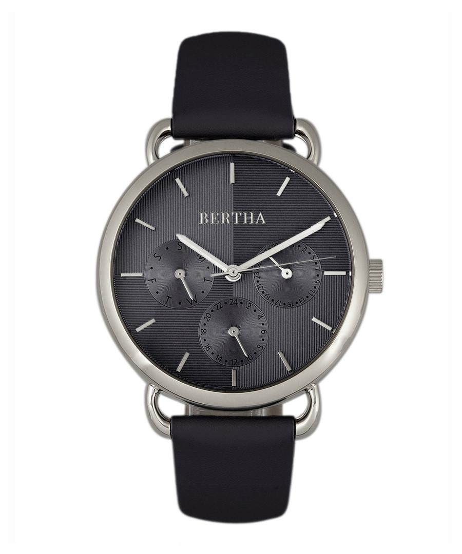 Gwen silver-tone & black leather watch Sale - bertha