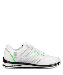 White & neon leather sneakers