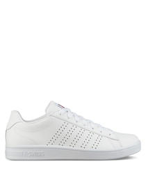 White perforated leather sneakers