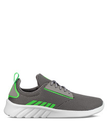 Grey & green neon leather sneakers