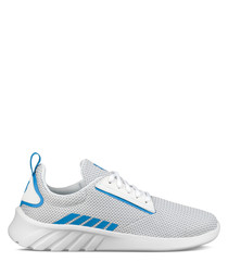 White & blue leather sneakers