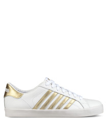White & gold leather sneakers