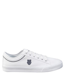 White & navy leather sneakers