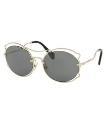 Grey & gold-tone decal sunglasses