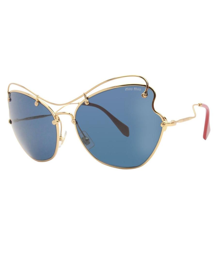 626608a90867 Gold-tone   blue sunglasses Sale - miu miu Sale