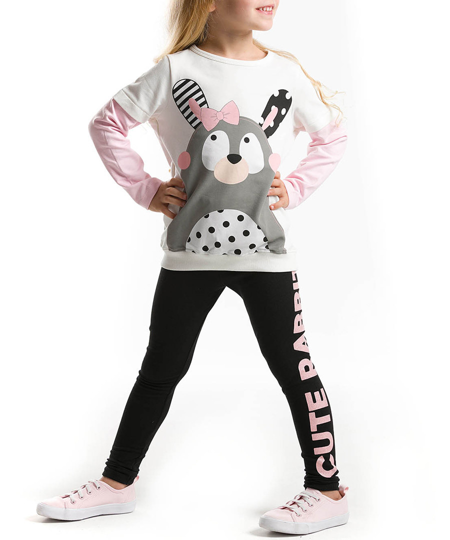 2 piece set. printed top and leggings with print on on one leg. Sale - Denokids