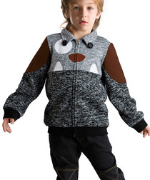 Grey monster print cotton blend jacket