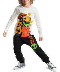 2pc boys' orange top & trousers set