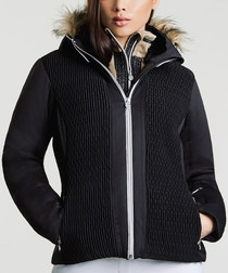 Women's black & white trim zip-up jacket
