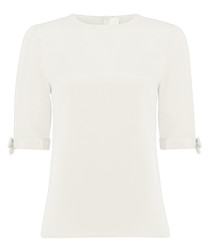 Flo cream pure silk short sleeve blouse