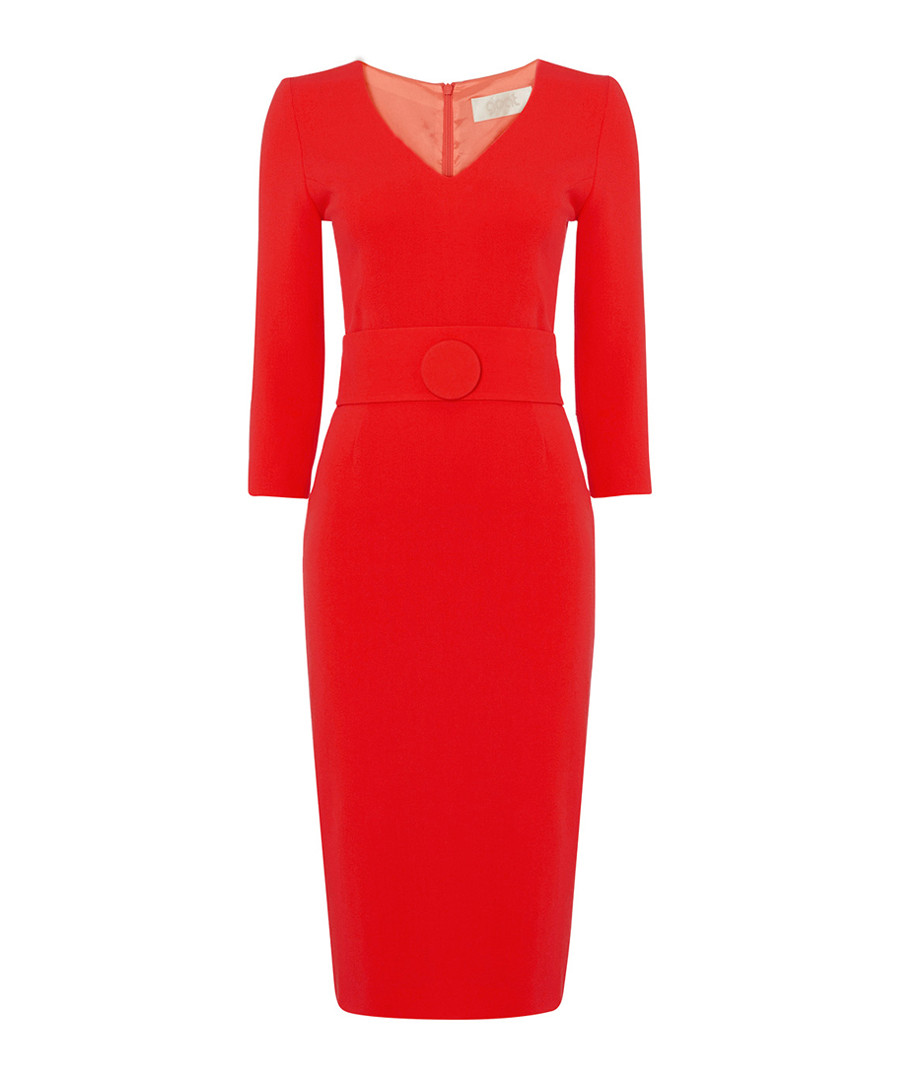 Fox red pure wool crepe pencil dress Sale - goat