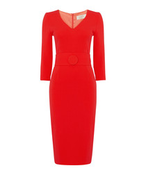 Fox red pure wool crepe pencil dress