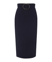 Finch navy pure wool crepe pencil skirt