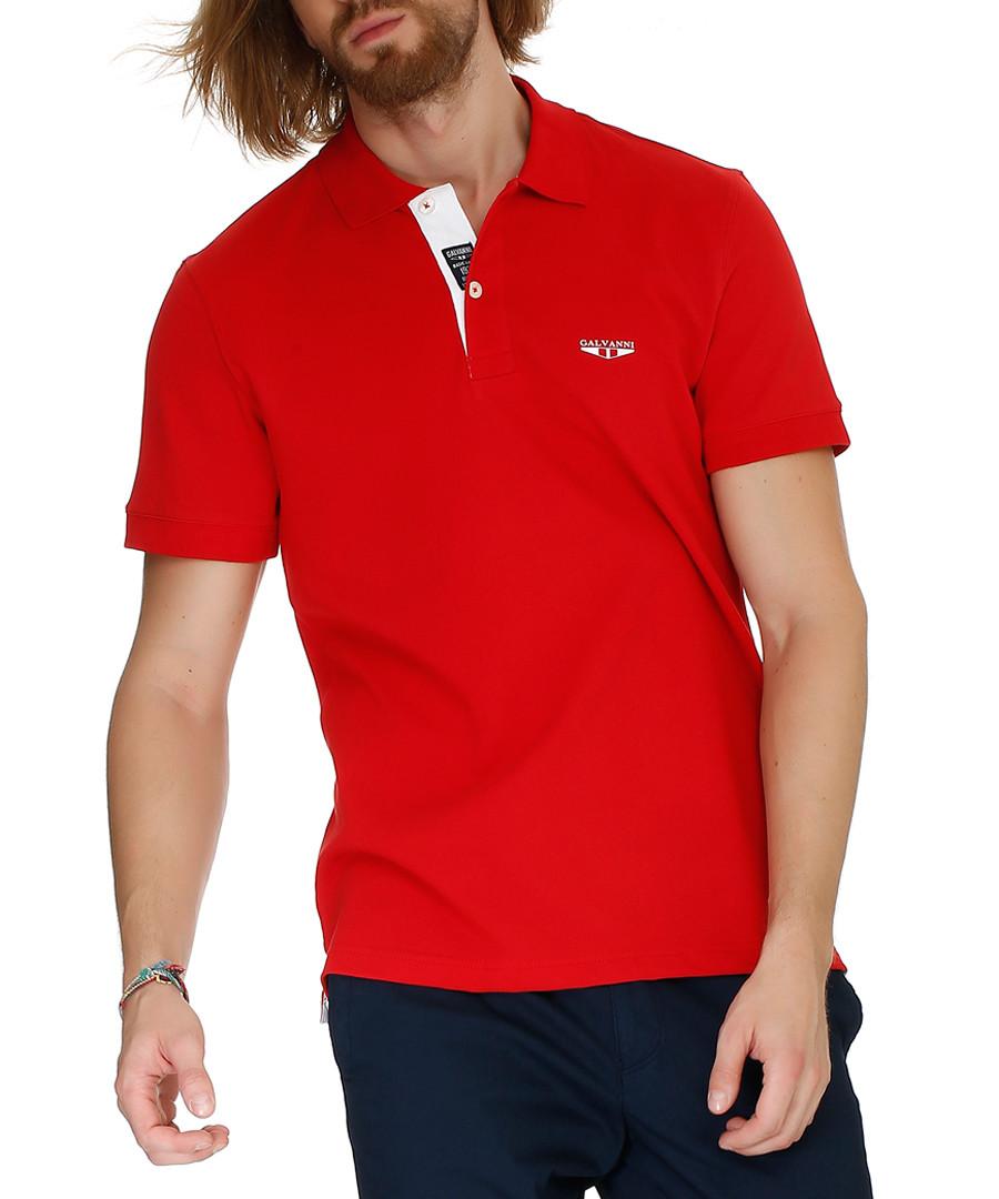 Red pure cotton polo shirt Sale - galvanni