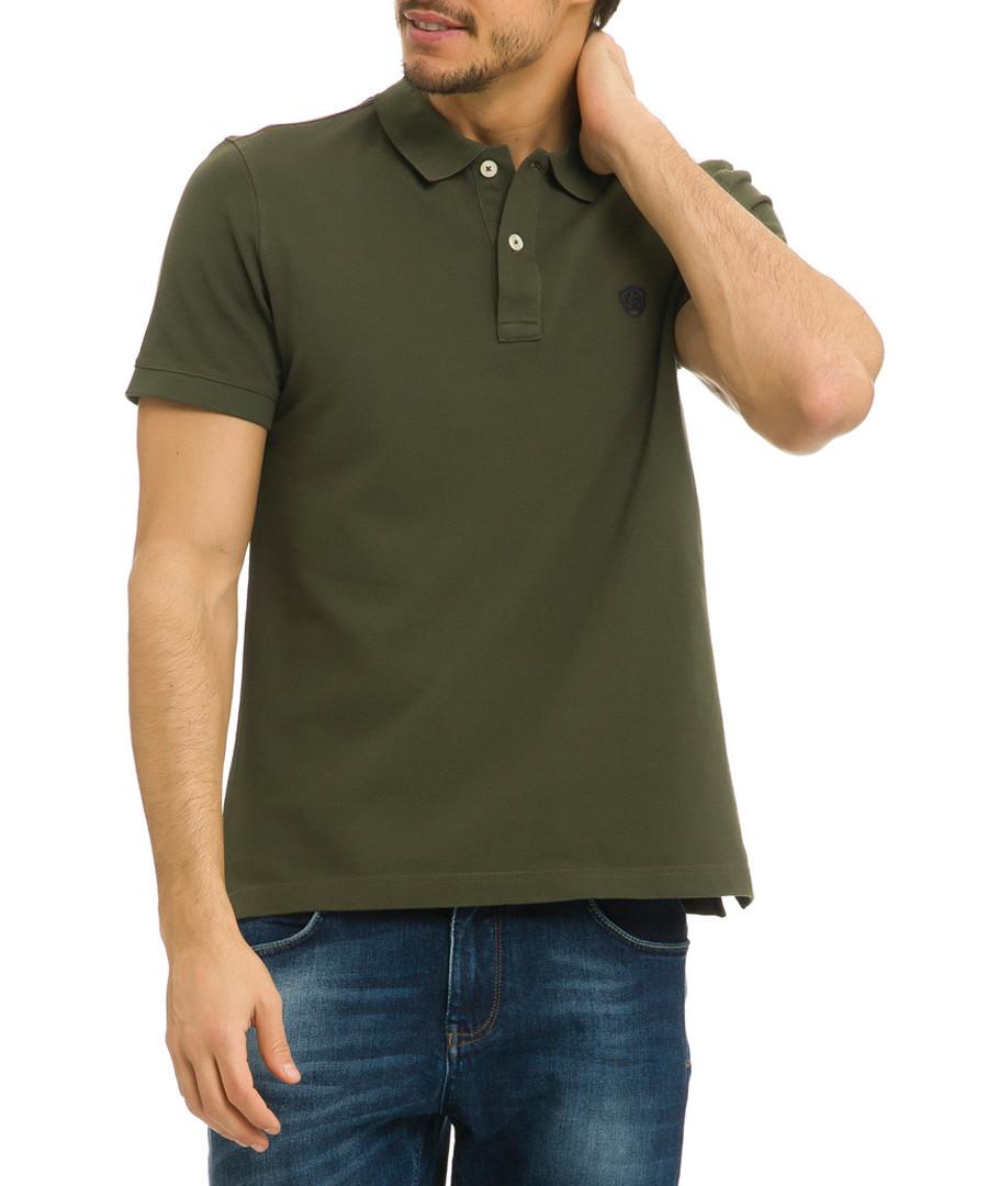 Olive night cotton polo shirt Sale - galvanni