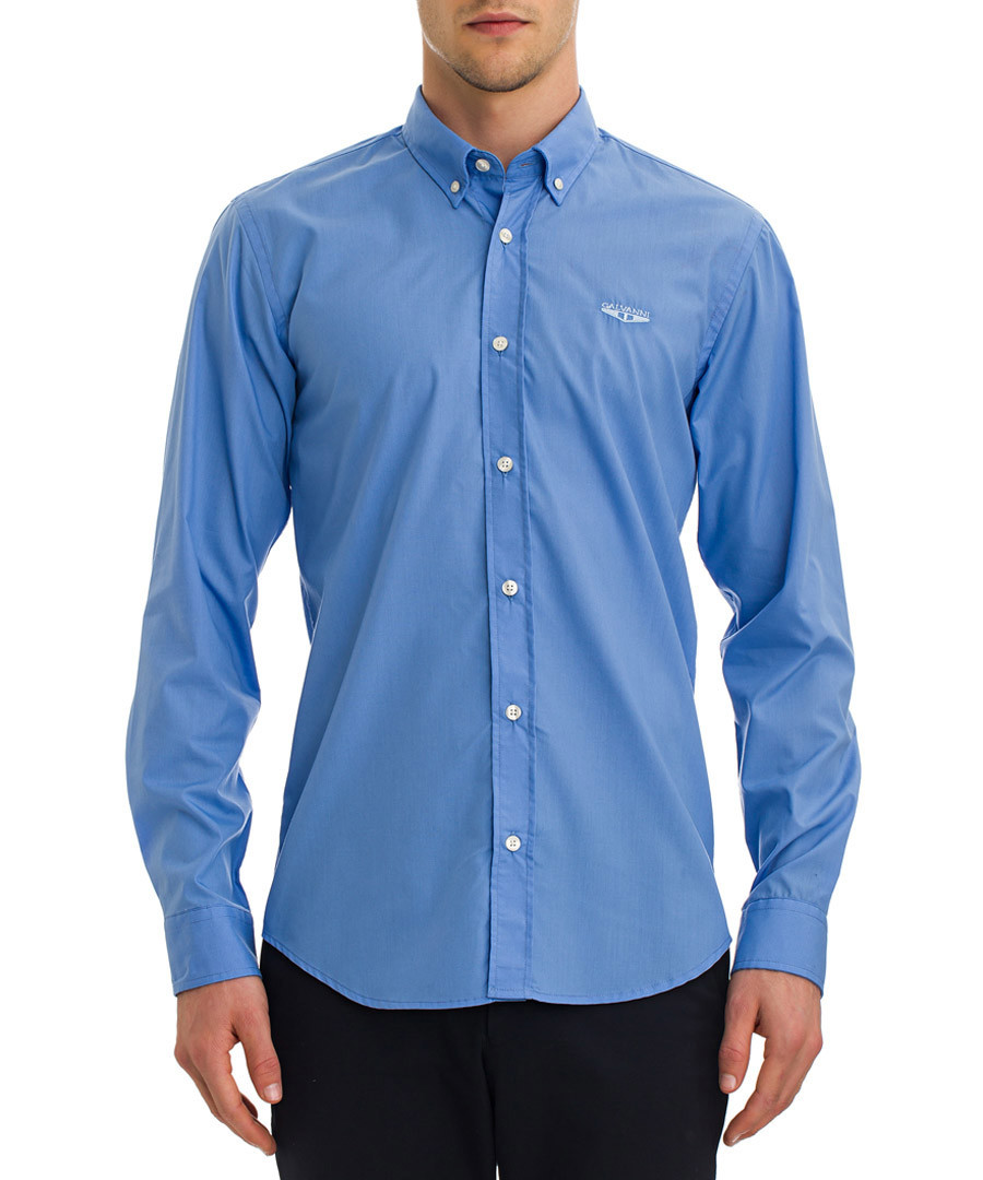 Light blue cotton blend shirt Sale - galvanni