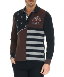 Dark navy cotton long sleeve polo shirt